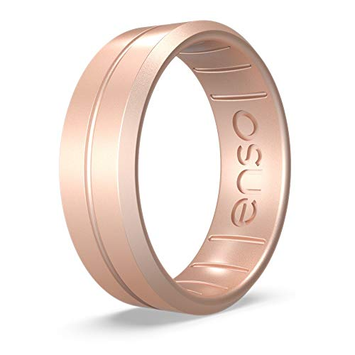 Enso Rings Classic Contour Silicone Ring | Handmade in The USA | The Premium Fashion Forward Silicone Ring | Lifetime Quality Promise (Rose Gold, 7)