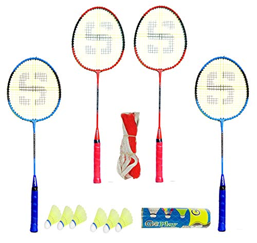 Shivgan Extra Aluminum Ordinary Combo Badminton Set of 4 Racket 6...
