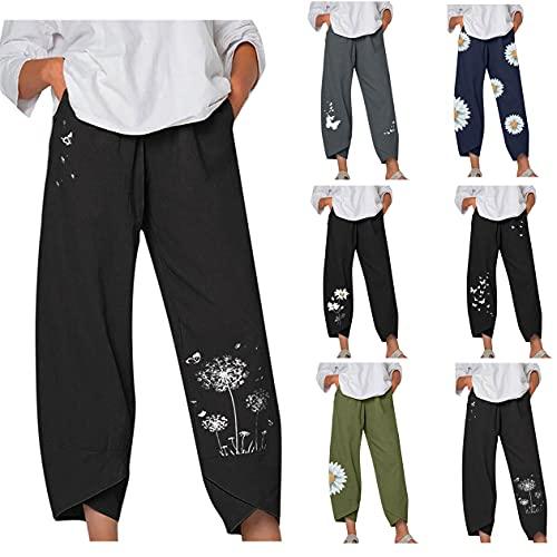 Mango Leinenhose Damen leinenhosen schwanger Leinenhose weit Damen Sport Hosen Damen kurz hosengürtel Damen (Blau 5,L)