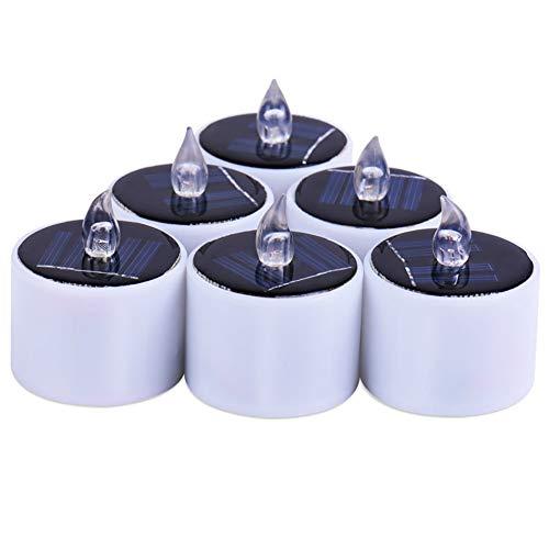 Linterna solar con luces de té Konesky con velas LED, paquete de 6 Luces con velas parpadeantes sin llama recargables con LED Velas a batería a prueba de agua para jardín, patio, camino (coolwhite)