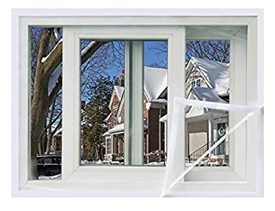47 x 79 inch Window Insulation Film Kit for Winter, Premium Plastic Window Film Insulator Kit with Hook & Loop Tape - Keep Cold Air Out