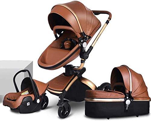 DAGCOT Cochecito de bebé recién nacido de peso ligero carro de bebé Cochecito-3 en 1 puede sentarse y acostarse ligero, plegable cama de bebé, con toldo, Cesta que lleva, Viajes Sistema de Rotación de