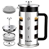 Pukomc French Press Coffee Tea Maker 34 oz, 4 Level Filtration System Heat Resistant Removable Borosilicate Glass 304 Grade Stainless Steel Stylish Durable