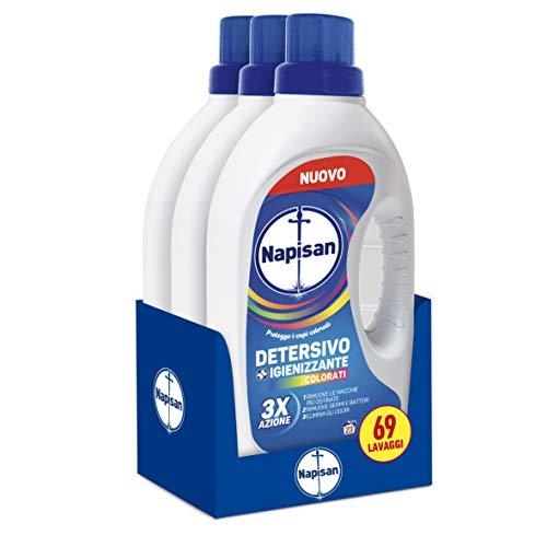 Napisan Detersivo Lavatrice Liquido, Detersivo Igienizzante, Capi Colorati, 69 Lavaggi, 3 Confezioni Da 23 Lavaggi