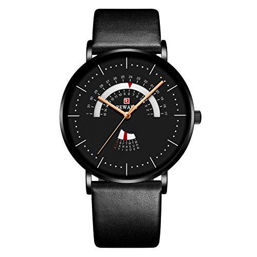 CXJC 43 mm Dial Redondo Reloj deportivo para hombres, personalidad de moda Multifuncional Menores de negocios, negro, oro, azul y blanco Cuatro colores se pueden seleccionar (Color : Negro)