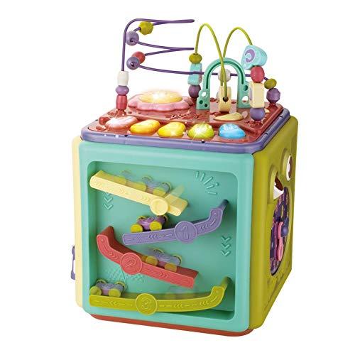 kindly Juguetes educativos de educación temprana 6 en 1 Actividad Cubo Musical Piano Clave Bloque de construcción Pista Laberinto Juego Multifuncional, Utilizado para el Aprendizaje y el Desarrollo