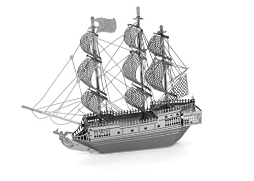 MetalEarth Ships: Black Pearl Pirate Ship 9.91x7.92x1.78cm, 3D Metal Model Kit with 2 Sheets, on Card 12x17cm, 14+