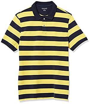 Amazon Essentials Men s Slim-Fit Cotton Pique Polo Shirt -Yellow/Navy Rugby Stripe Large