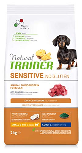 Natural Trainer Sensitive No Gluten - Cibo per Cani Small&Toy Adult con Agnello e Cereali Integrali 2kg