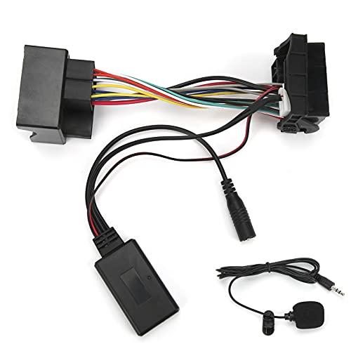 Adaptador de cable AUX-IN Cable Bluetooth de coche de 12 pines Adaptador de audio estéreo con micrófono Manos libres para llamadas Apto para Peugeot 207307407308