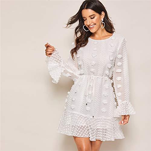 GUOLYQF Weißes Schweizer Dot Volant Ärmel Rüschensaum Süßes Kleid Mit Gürtel Frauen Herbstferien Feste Tunika Kleider Für Damen L Weiß