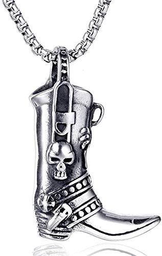 LBBYMX Co.,ltd Halskette Mode Edelstahl Cowboystiefel Schädel Mann Männer Halsketten Kette Anhänger Punk Rock Hip Hop Cool für männliche Freund Schmuck Geschenk