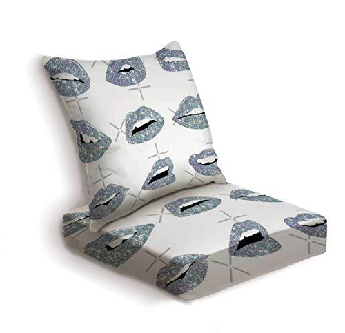 ONENPENRI 2-Piece Outdoor Deep Seat Cushion Set Kiss Kiss Faux Glitter Lips Back Seat Lounge Chair Conversation Cushion for Patio Furniture Replacement Seating Cushion
