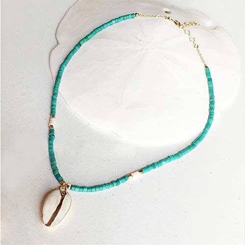 BJINUIY Boda Hecha A Mano Elegantes Collares Ajustables Golden Unique Green Bead Short Chockers Shell Seaside