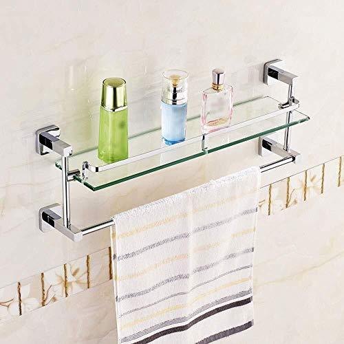 Estante de cristal para baño, de cobre completo, montado en la pared, de vidrio templado para baño con barra de toalla y riel de baño (tamaño: 50 cm)