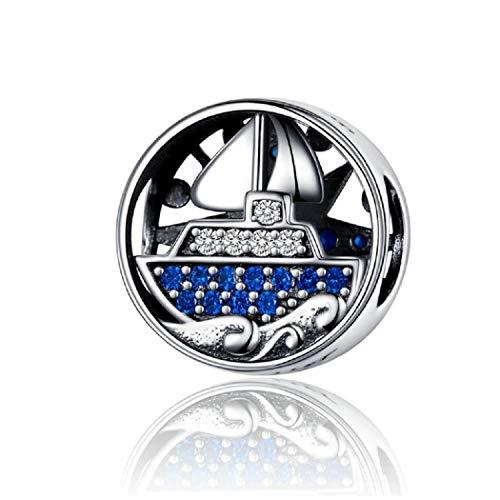 FeatherWish - Ciondolo rotondo a forma di barca a vela, in argento Sterling 925, con zirconia cubica blu, compatibile con braccialetti Pandora
