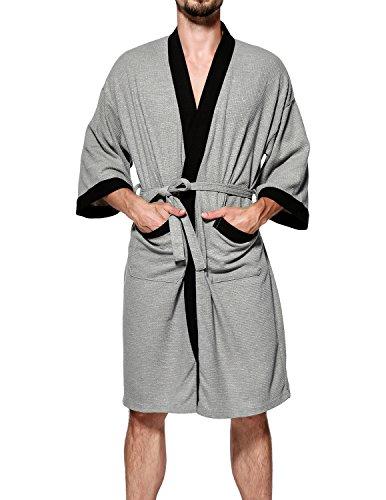 Haseil Men's Turkish Cotton Bathrobe Waffle Kimono Terry Cloth Hotel Spa Robes, Grey, X-Large