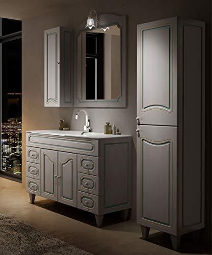 Mobile bagno a terra moderno Caravaggio effetto decapè, misura cm 120, con specchio e applique, lavabo, colonna e pensile