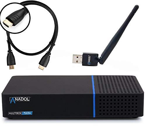Anadol Multibox Twin 4K UHD E2 Linux Twin Sat-Receiver mit PVR Aufnahmefunktion, DVB-S2 Tuner, HDTV, 2160p, H.265, HDR [vorprogrammiert für Astra & Hotbird] + HDMI Kabel + USB WiFi Stick