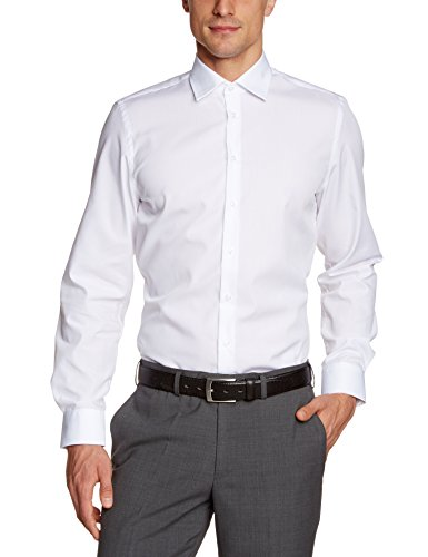Daniel Hechter Herren Modern Fit Businesshemd Hemd-1/1-Kent 10200 55982, Gr. Large (Herstellergröße: 42), Weiß (white 1)