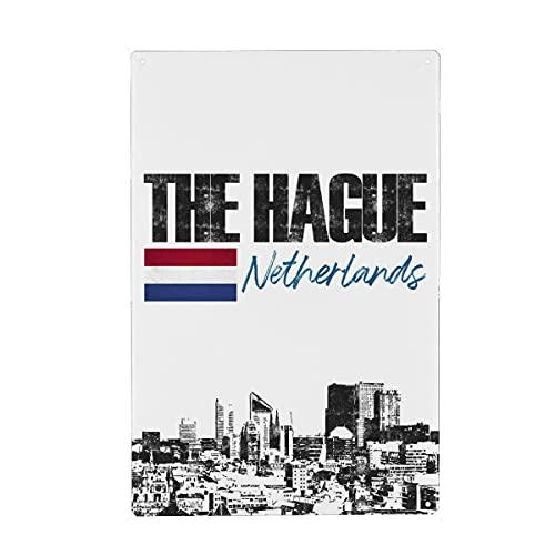 artboxONE Metall-Poster 30x45 cm Städte Den HAAG Skyline minimalistisch von Künstler Printed Artings