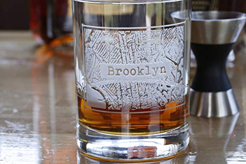 Street Maps Glassware, Hometown City Rocks Glasses - Set of 4 (mapwsky)