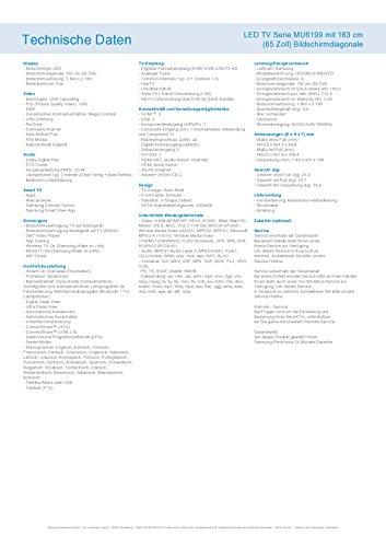 Samsung MU6199 163 cm (65 Zoll) Fernseher (Ultra HD, HDR, Triple Tuner, Smart TV)