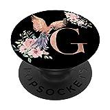 Amante de Loros Negro Acuarela con la Letra G PopSockets PopGrip: Agarre intercambiable para Teléfonos y Tabletas