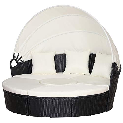 Outsunny Sofá Modular Diseño 2 en 1para Jardín Cama Chill-out con Toldo Ajustable 180x175x147cm Estructura Oscura y Cojines Claros