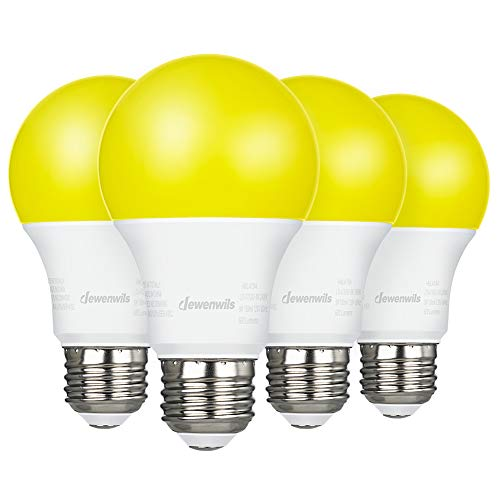 DEWENWILS 4 Pack LED Light Bulbs Outdoor, A19 Yellow Light Bulb, 9W(60W Equivalent), 600LM, 2400K Amber Glow, Non-Dimmable, E26 Medium Screw Base, UL Listed