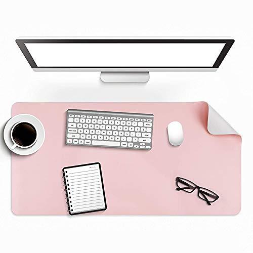 PU Cuero Alfombrilla de Escritorio, Impermeable Doble Cara Alfombrilla de Escritorio para la Oficina y el Hogar - Rosado + Gris Plata