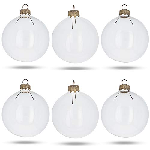 BestPysanky Set of 6 Clear Glass Ball Christmas Ornaments DIY Craft 3.25 Inches
