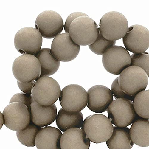 Sadingo Perlas acrílicas de 6 mm, 600 unidades, color gris (Fossil) para hacer tú mismo, cuentas para manualidades, cadena para teléfono móvil.