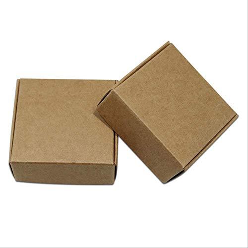 FHFF Kraft papieren tas ambachtelijke papieren partij decoratie verpakking doos kleine karton sieraden geschenkdozen leeg vierkant 7X7X3Cm bruin