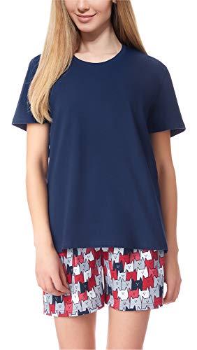 Merry Style Damen Schlafanzug MS10-177 (Dunkelblau/Katze, XXL)
