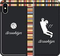 【手帳型 全機種対応】 バスケ iPhone 12 mini pro Max Xperia Galaxy 楽天 UQ Yモバイル Android シルエット スマホケース カバー(アウェイ/ブルックリン:11番_F) ネッツ 08 iPhone11 pro Max