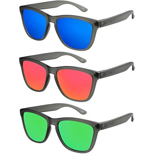 X-CRUZE® - Pack de 3 gafas de sol polarizadas estilo Retro Vintage Unisex Caballero Dama Hombre Mujer Gafas - negro-transparente mate - Set J -