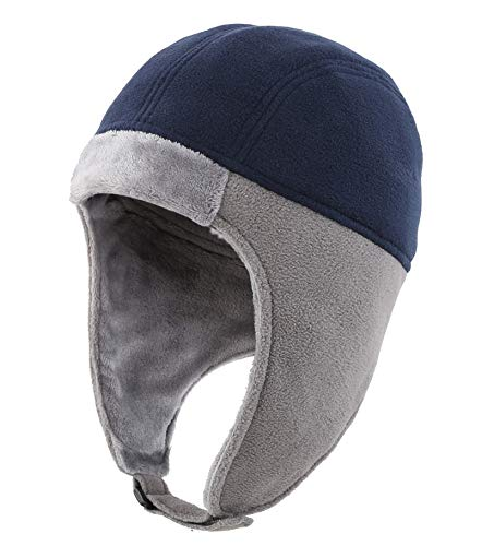 Connectyle Mens Fleece Thermal Skull Cap Warm Winter Beanie with Earflap Outdoor Cycling Sports Hat Navy