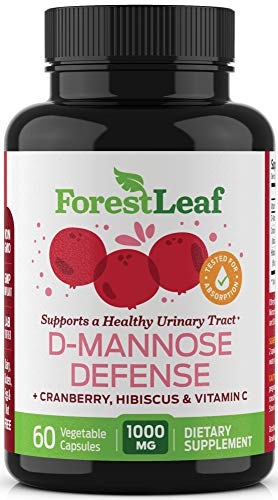 ForestLeaf D-Mannose Defense 1000mg - D Mannose with Cranberry, Hibiscus and Vitamin C - for Urinary Tract Health and Cleanse, Urinary Pain & Bladder Control - 60 Veggie Capsules