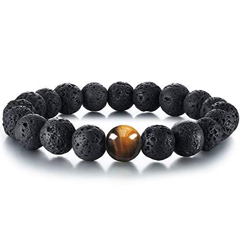 Tiger Eye Lava Stone Diffuser Bracelet Cat Eye Bracelet Genuine Nature Lava Bead Bracelet Durable...