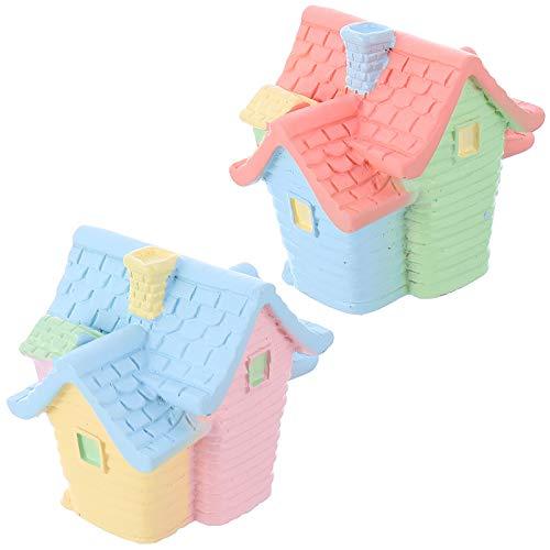 WINOMO 2 Stück Miniatur-Gartenhaus Mini-Cottage-Dekorationen Miniatur-Gartenhäuser