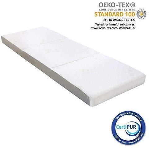 Milliard Gastenmatras 3-Delige 10 cm Vouwmatras Memory Foam, Logeermatras met Ultrazachte Afneembare Hoes en Antislip Onderkant (Kleine Single 190 x 75 x 10 cm)
