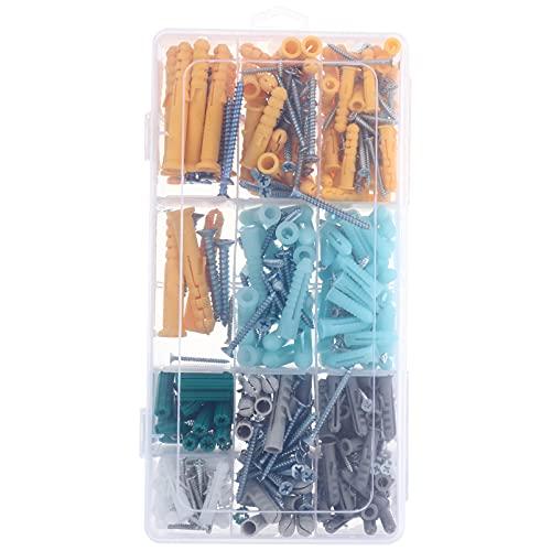 Angoily 241 Piezas de Anclaje de Paneles de Yeso de Perforación Automática Kit de Enchufe de Pared de Tornillo Industrial Tornillos de Montaje de Fijación de Pared sin Complicaciones para