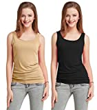 Fashion Line Cotton Lycra Tank Top for Girls/Women (Beige, Black - Pack of 2)