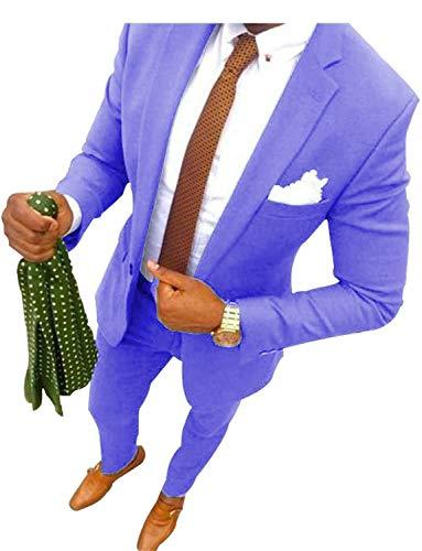 UMISS Herren 2-teiliges Classic Fit Anzug Büro formelle Jacke & Hose Set