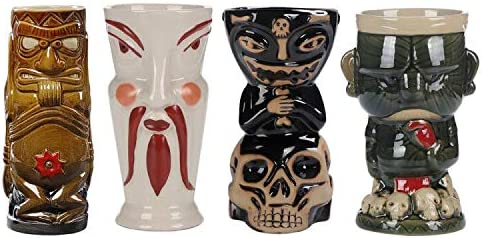 14$ pc Tiki Mug Cocktail New Orleans Mall Set of Factory outlet Hawiian Party Ceramic 4 Gla Kit