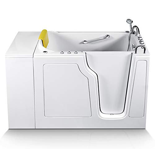 Energy Tubs Walk-in Bathtub 28 in. x 52 in. Luxury Whirlpool Massage and Faucet Set (White) (Right Drain)