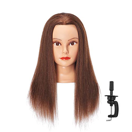 Hairlink 24-26'' Mannequin Head With Human Hair Styling Training Head Dolls for Cosmetology Manikin Maniquins Practice Head with Stand (6611LB0414H)