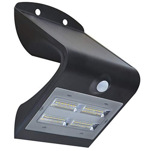 Aplique solar LED 3,2 W 400 Lm IP65, sensor luz y movimiento, 3 modos, batería Li-Ion, panel solar monocristalino, color negro