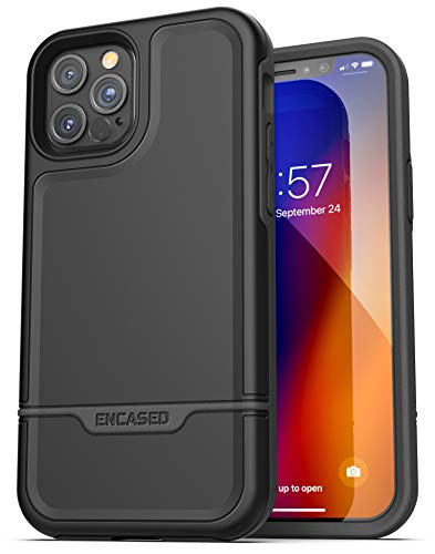 Encased Protective Rebel Series Designed for iPhone 12 Pro Case (Heavy Duty) Full-Body Rugged Design (Black)